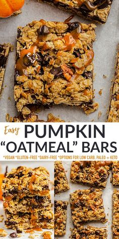"""These Pumpkin Oatmeal Bars are easy to make with real pumpkin, cozy autumn spices and a grain-free (or regular) """"oatmeal"""" crumble topping. They're the perfect fall treat but also healthy enough for a cozy breakfast. Freezer-friendly, gluten-free, refined sugar-free, dairy-free, vegan with low carb, keto and paleo options."""