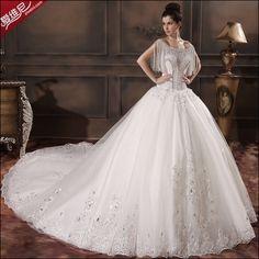婚紗禮服新款2014 流蘇包肩豪華長款長袖帶袖一字肩高檔大拖尾