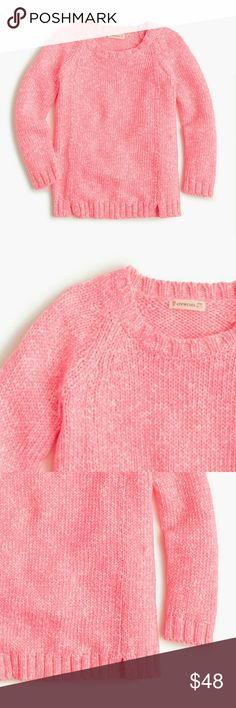 Crewcuts Girls' marled popover sweater Sweater Features  J.Crew Brand  Soft Marled Cotton  Pink with Spreckles of White 72% Polyester 25% acrylic Machine wash Import Front bottom hem has two side slits Crewcuts  Shirts & Tops Sweaters