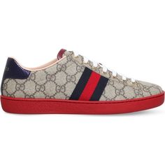 Gucci New Ace GG canvas trainers (845 BAM) ❤ liked on Polyvore featuring shoes, sneakers, green sneakers, gucci, striped shoes, green shoes and canvas sneakers