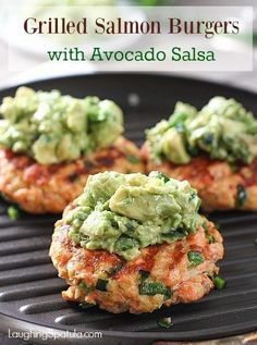 Grilled Salmon Burgers with Avocado Salsa! Grilled Salmon Burgers with Avocado Salsa! Super Fast Fresh and Grilled Salmon Burgers with Avocado Salsa! Super Fast Fresh and Easy! Fish Recipes, Seafood Recipes, Cooking Recipes, Healthy Recipes, Whole30 Recipes, Delicious Recipes, Tilapia Recipes, Cooking Pork, Cooking Games
