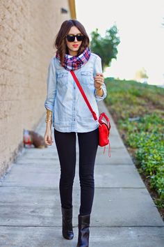 chambray shirt | black jeans | plaid scarf | red purse // Kacie's Kloset Blog
