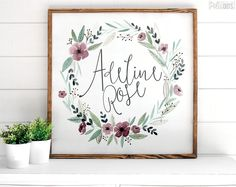 Personalized Lavender Floral Sign - white Wood Sign - Pretty In Polka Dots - floral wreath -name- nursery art