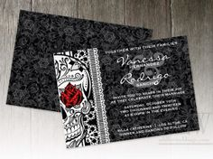 skulls and roses rock n roll wedding invites wed fest from miss to mrs pinterest rock wedding and weddings - Skull Wedding Invitations