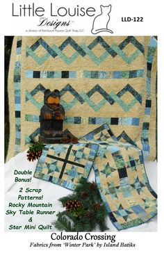 Quilt Pattern & Table Runner - Little Louise Designs - Colorado Crossing Table Runner Size, Table Runner Pattern, Quilted Table Runners, Colorado, Quilt Border, Jellyroll Quilts, Quilts For Sale, Quilt Sizes, Shibori