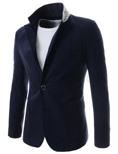 (NIFJ526-NAVY) Mens Slim Fit Single Breasted Notched Lapel 2 Button Blazer