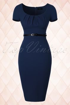 Vintage Chic  Pleated Front Blue Pencil Dress 100 20 18362 20160404 0006W