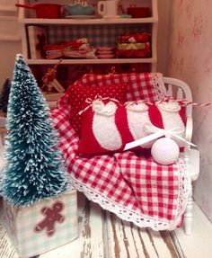 Winter Bench and Tree112 Dollhouse Miniature by RibbonwoodCottage, $40.00