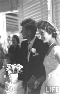 #JFK_Photos  http://en.wikipedia.org/wiki/Wedding_dress_of_Jacqueline_Bouvier  12-9-1953.Their Wedding ... ❤❤