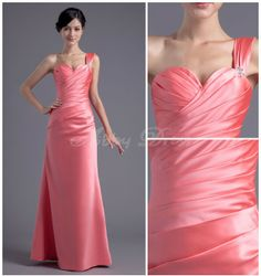 Backless Sweetheart One-shoulder Pleat Beaded Floor-length Satin Evening Dress
