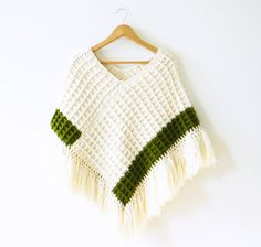 Chunky Vintage Fringed Poncho Shawl by thehappyforest