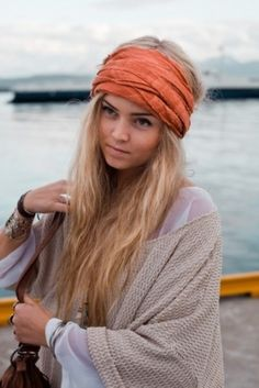 Wrap a brightly coloured scarf around those salty beach waves for the ultimate Boho boat  look