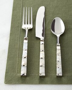 20-Piece Mother-of-Pearl Striped Flatware Service, Silver - Neiman Marcus