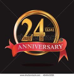 24 years anniversary golden logo with ring and soft red ribbon