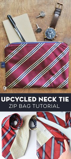 How to Make Zip Bags from Old Ties! DIY gift idea for Men How to upcycle neck ties into other projects. What to do with old ties. A free sewing pattern for necktie zip pouches. Easy Sewing Projects, Sewing Projects For Beginners, Sewing Hacks, Sewing Tutorials, Sewing Tips, Sewing Patterns Free, Free Sewing, Old Ties, Old Neck Ties