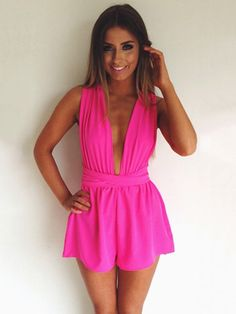 Sexy Fashion Jumpsuits Deep V-neck Straps Siamese Shorts with Open Back