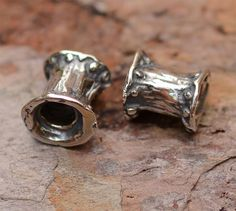 Dotted Tube Bead in Sterling Silver, 352a