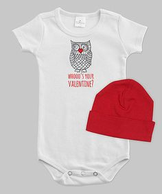 This White & Red 'Whooo's Your Valentine' Bodysuit & Beanie - Infant is perfect! #zulilyfinds