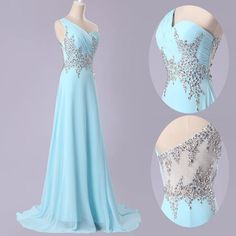 Buy Elegant One Shoulder Sky Blue Long Chiffon Prom Dress with Beading Long Prom Dresses under $128.99 only in Dressywomen.