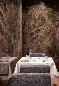 Marble is coming back. Here its seen as wall treatment in a frankfurt restaurant called stanley diamond