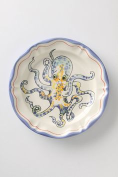 "Whimsical Octopus Dinner Plate: Made of dishwasher and microwave safe stoneware. 10"" diameter. #Octopus_Plate"
