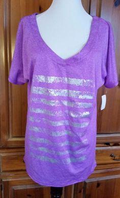 Tek Gear  V-Neck Wicking Shirt Womens sz M Purple Silver Stripes Workout top #TekGear #GraphicTee