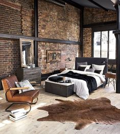 Industrial Style 847028642403633945 - 41 Wonderful Industrial Style Bedroom Design Ideas That Looks Elegant Source by eekerhnnm Industrial Bedroom Design, Industrial Interiors, Industrial House, Design Bedroom, Bedroom Ideas, Loft Style Bedroom, Stil Industrial, Industrial Loft Apartment, Industrial Kitchens