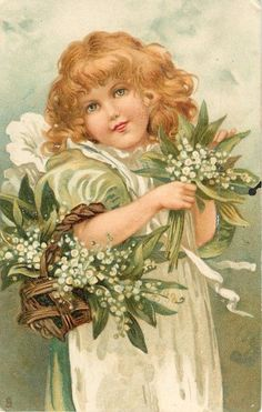 Vintage girl with lily-of-the-valley postcard