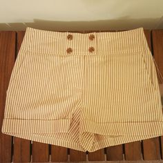 F21 High Waisted Shorts Hight waisted shorts, cream and brown striped, cuff at bottom.  ** NO TRADES Forever 21 Shorts
