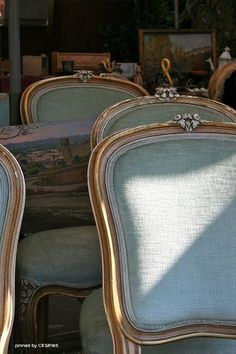 ZsaZsa Bellagio – Like No Other, beautiful french chairs done in a linen