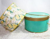 Vintage Hat Boxes, Yellow floral or turquoise