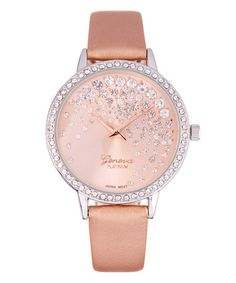 Another great find on #zulily! Rose Goldtone & White Crystal Faux Leather-Strap Watch #zulilyfinds