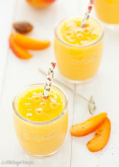 Glasses of apricot mango smoothie recipe. Tinned apricots work fantastically in this smoothie.