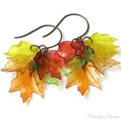 These Colorful Fall Leaf Earrings are handmade with chocolate patina lead free antique brass French hoop ear wires, decorative brass Plastic Jewelry, Paper Jewelry, Jewelry Crafts, Beaded Jewelry, Handmade Jewelry, Lucite Flower Earrings, Leaf Earrings, Diy Earrings, Ideas Joyería
