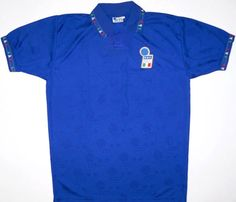 Italy (H) My dad showed impeccable taste in picking this up for me whilst he was on holiday. Not sure whether I still have this, to my great shame. Classic Football Shirts, Vintage Football Shirts, Italy House, International Teams, Retro Vintage, Polo Ralph Lauren, Soccer, Holiday, Mens Tops