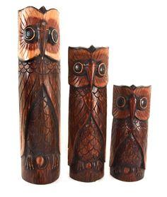 Owls Set of 3 Polished Wood Owls  $54.00