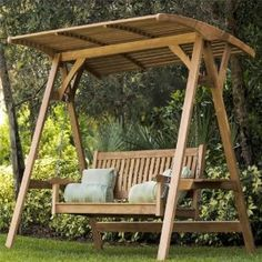 Amazon.com : Veranda Teak Swinging Bench with Stand : Outdoor Benches : Patio, Lawn & Garden