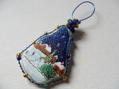 Happy Christmas night village - one of a kind - Large hand painted English sea glass Christmas tree decoration by ShePaintsSeaglass on Etsy