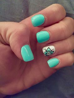The post Vacation nails !… appeared first on Nails . Turquoise Acrylic Nails, Teal Nails, Fancy Nails, Trendy Nails, Cute Nails, My Nails, Mint Green Nails, Cheetah Nail Designs, Cheetah Nails