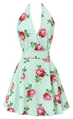 New Floral Mint Swing Apron ~ A Holiday Must Have!