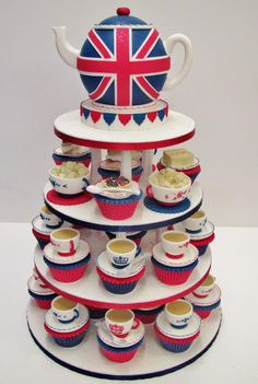 Union Jack teapot cake with cupcakes....for my birthday, please!!