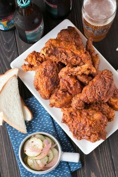 Sometimes all you need is a pile of crispy Hot Chicken with Homemade Quick Pickles to make a week infinitely better. Easy Party Food, Party Food And Drinks, Crispy Fried Chicken, Tandoori Chicken, Nashville Hot Chicken Recipe, Thing 1, Tailgating Recipes, Food Trends, Pickles