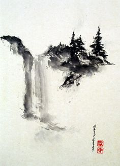Title - Serenity Sumi-e Japanese ink Painting Japanese Ink Painting, Sumi E Painting, Japanese Watercolor, Chinese Landscape Painting, Japanese Landscape, Chinese Painting, Chinese Art, Landscape Paintings, Chinese Brush