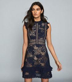 Lena Navy Ruffle-Trim Lace Dress – REISS