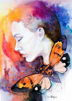 Peinture aquarelle orange papillon imprimer Fashion par SlaviART