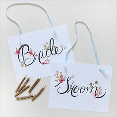 Bride and Groom Chair Signs | Free Printable Wedding Signs | POPSUGAR Smart Living