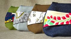 I love the design of these clutches, particularly the use of an accent fabric.