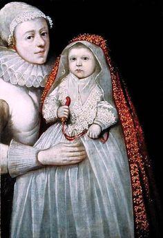 1595 Christening Portrait of Mother & Child.