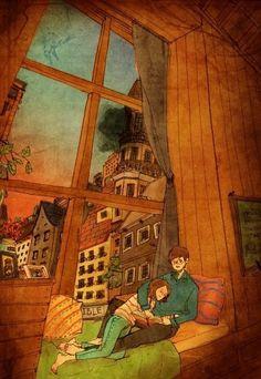 """Coreana retrata o amor em ilustrações com gestos cotidianos entre casais. """"Love Is"""" by Puuung."""