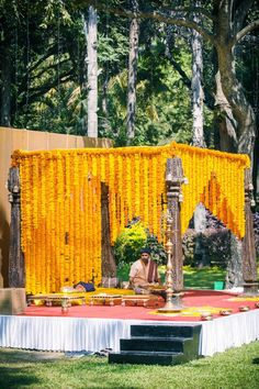 Looking for south indian rustic mandap? Browse of latest bridal photos, lehenga & jewelry designs, decor ideas, etc. on WedMeGood Gallery. Wedding Ceremony Ideas, Wedding Reception Games, Wedding Stage Decorations, Wedding Mandap, Temple Wedding, Outdoor Decorations, Wedding Dresses, Desi Wedding, Reception Ideas
